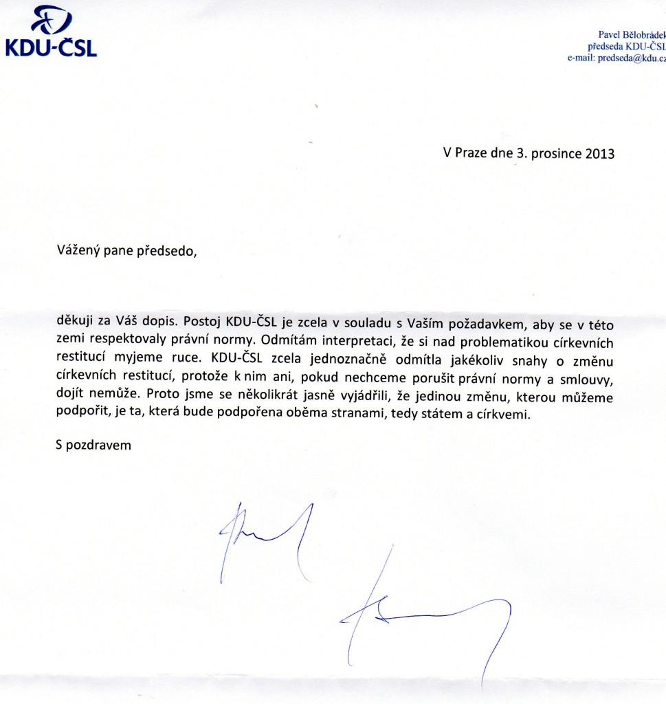 Odpověď KDU-ČSL